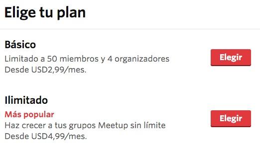 precios meetup