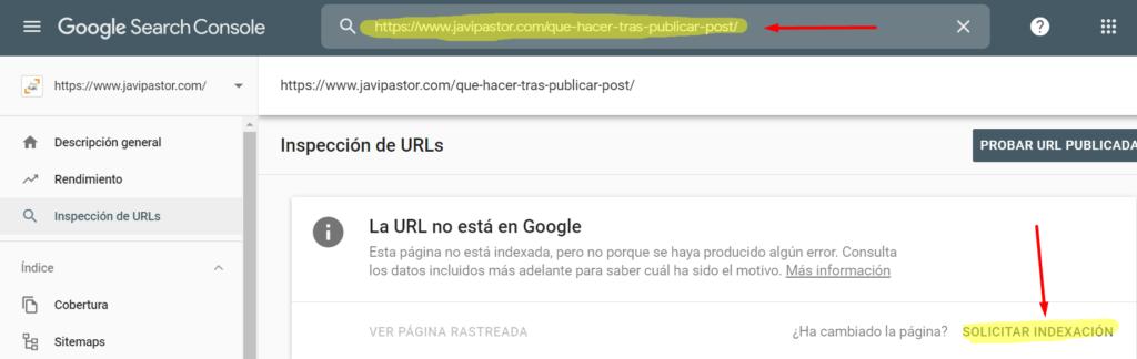 Solicitar indexación en Search Console